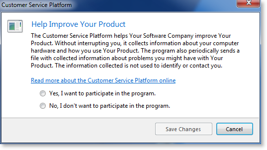 Developer's Guide for WinForms - User Opt In - Displaying
